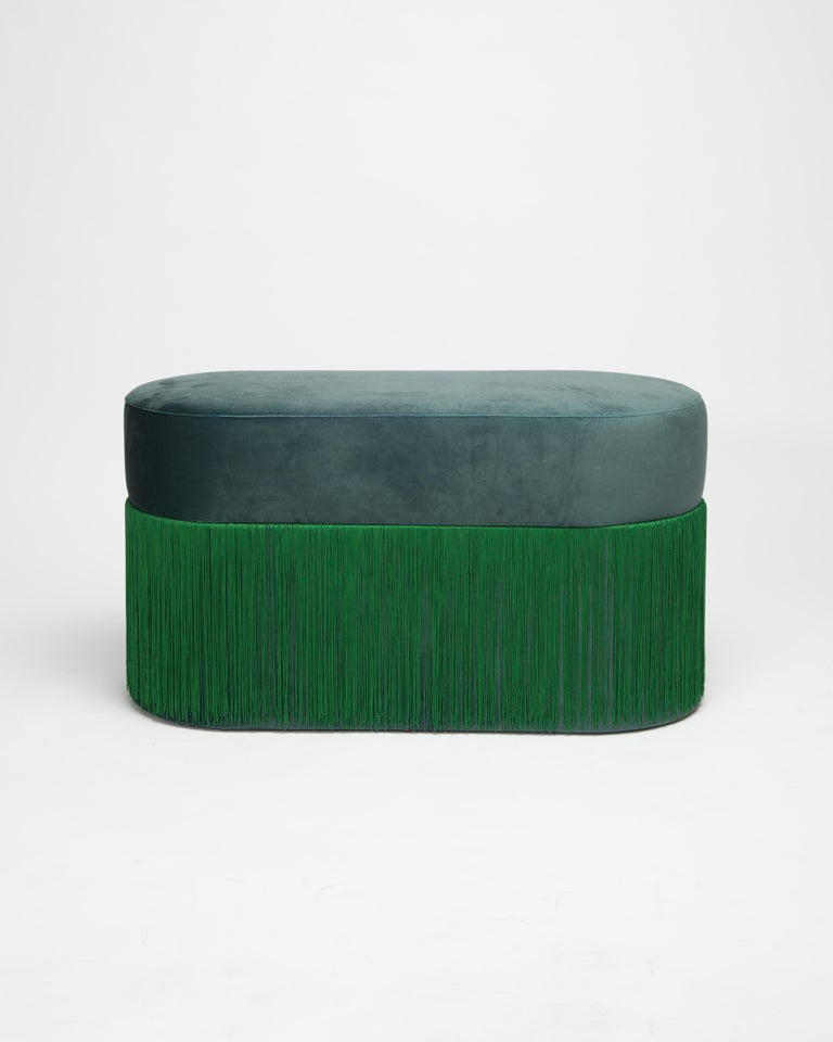 Spanish Pouf Pill Large Emerald Green in Velvet Upholstery with Fringes For Sale