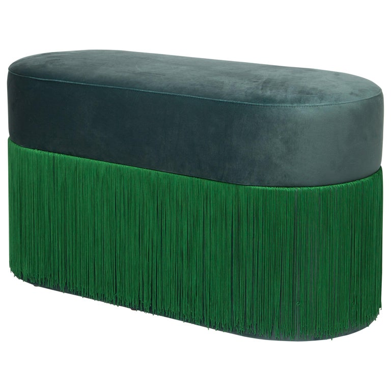 Pouf Pill Large Emerald Green in Velvet Upholstery with Fringes For Sale