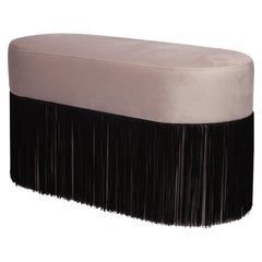 Pouf Pill Large Warm Grey in Velvet Upholstery with Fringes