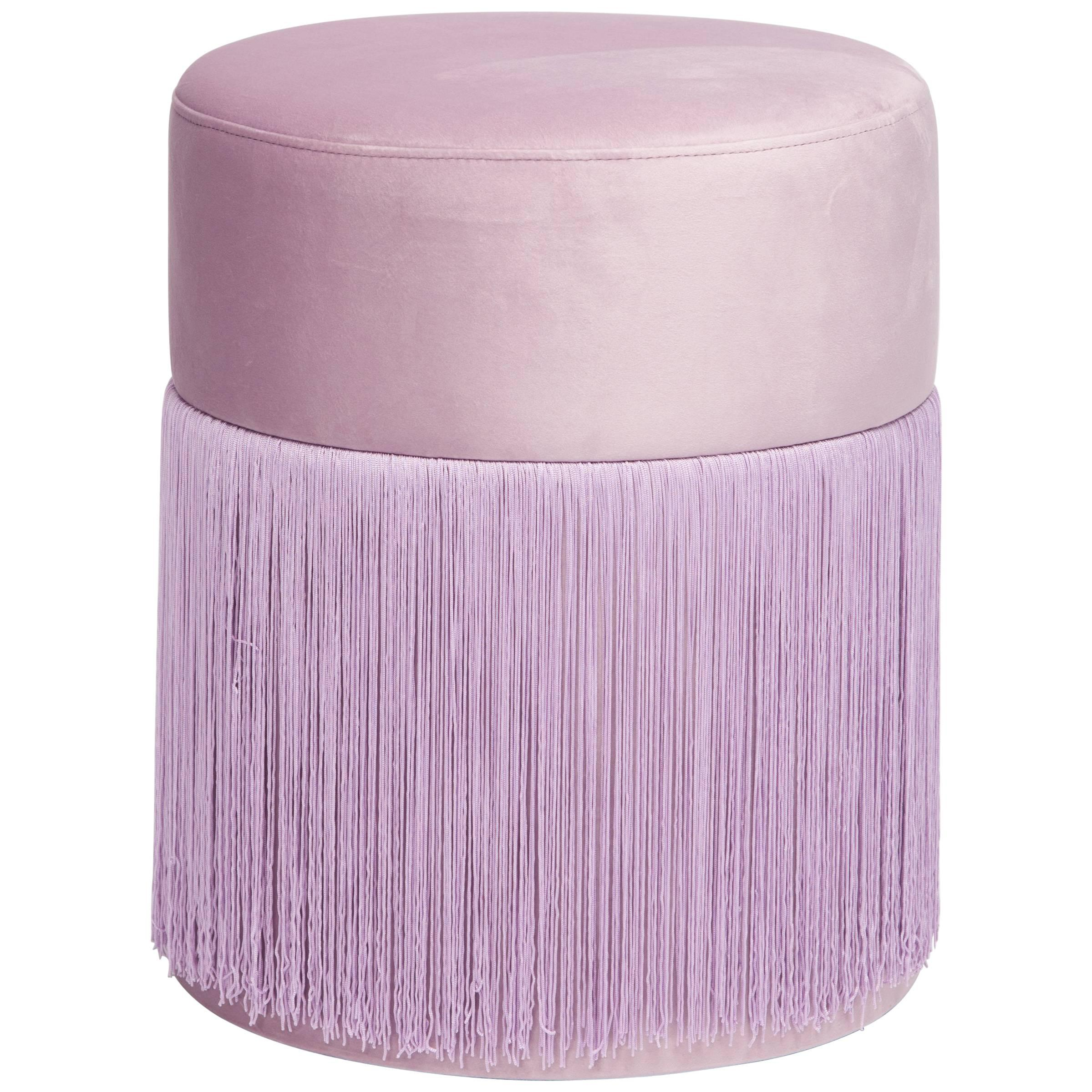 Pouf Pill Lilac in Velvet Upholstery with Fringes
