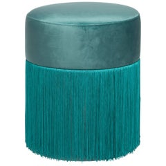 Pouf Pill Musk Green in Velvet Upholstery with Fringes