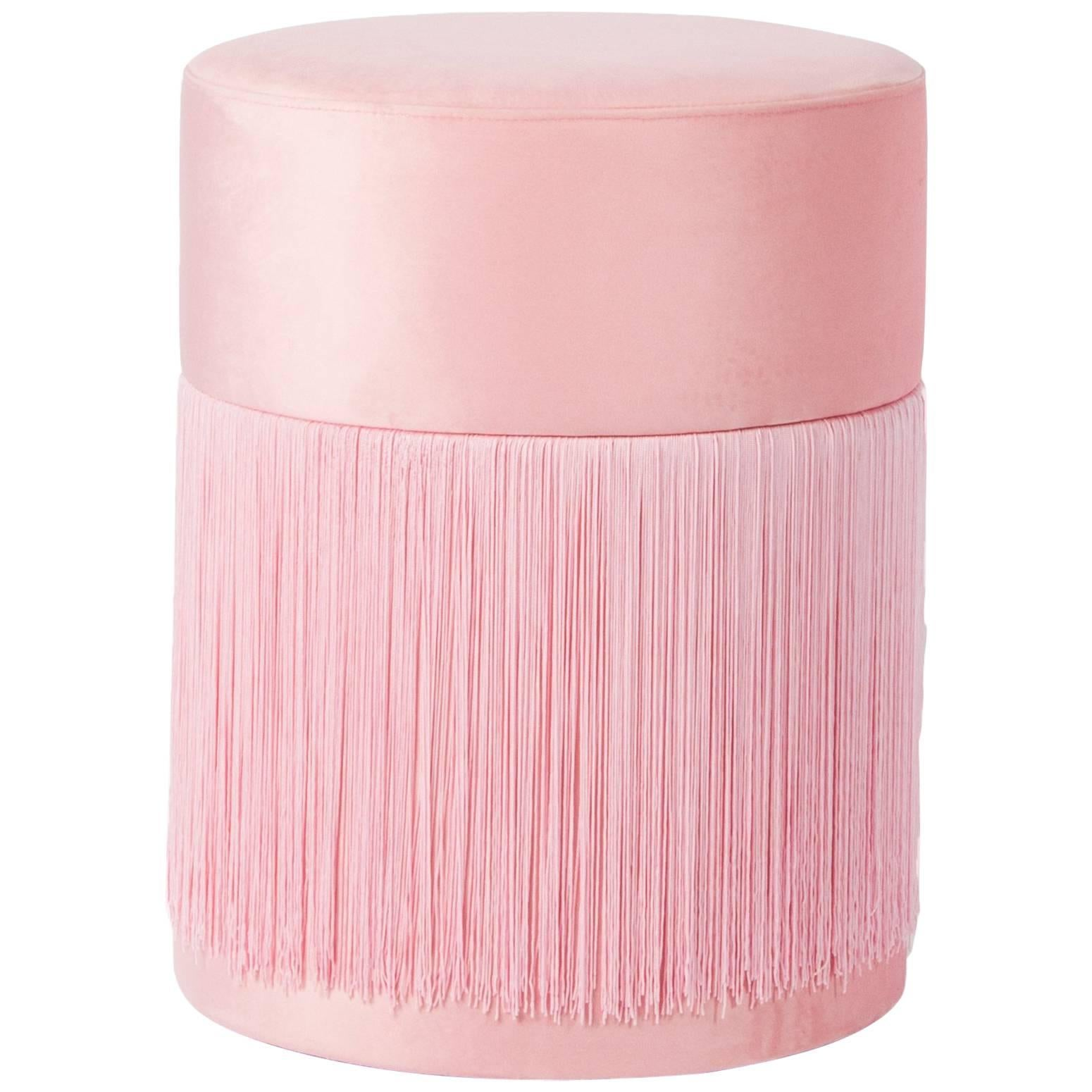 Pouf Pill Pink in Velvet Upholstery with Fringes