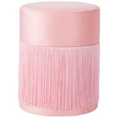 Pouf Pill Pink in Velvet Upholstery with Fringes
