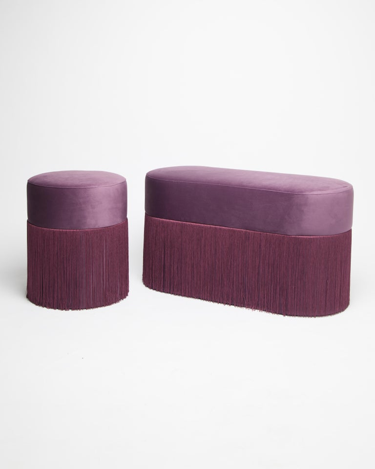 Other Pouf Pill Purple in Velvet Upholstery with Fringes For Sale