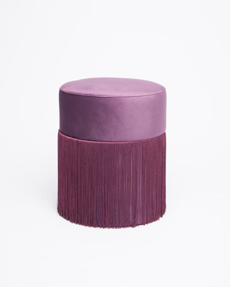 Contemporary Pouf Pill Purple in Velvet Upholstery with Fringes For Sale
