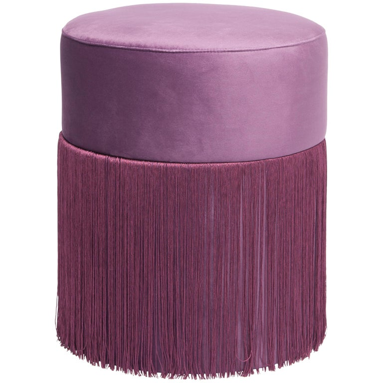 Pouf Pill Purple in Velvet Upholstery with Fringes For Sale