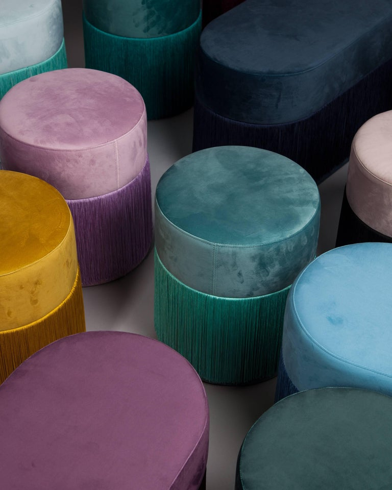 Other Pouf Pill Turquoise in Velvet Upholstery with Fringes For Sale