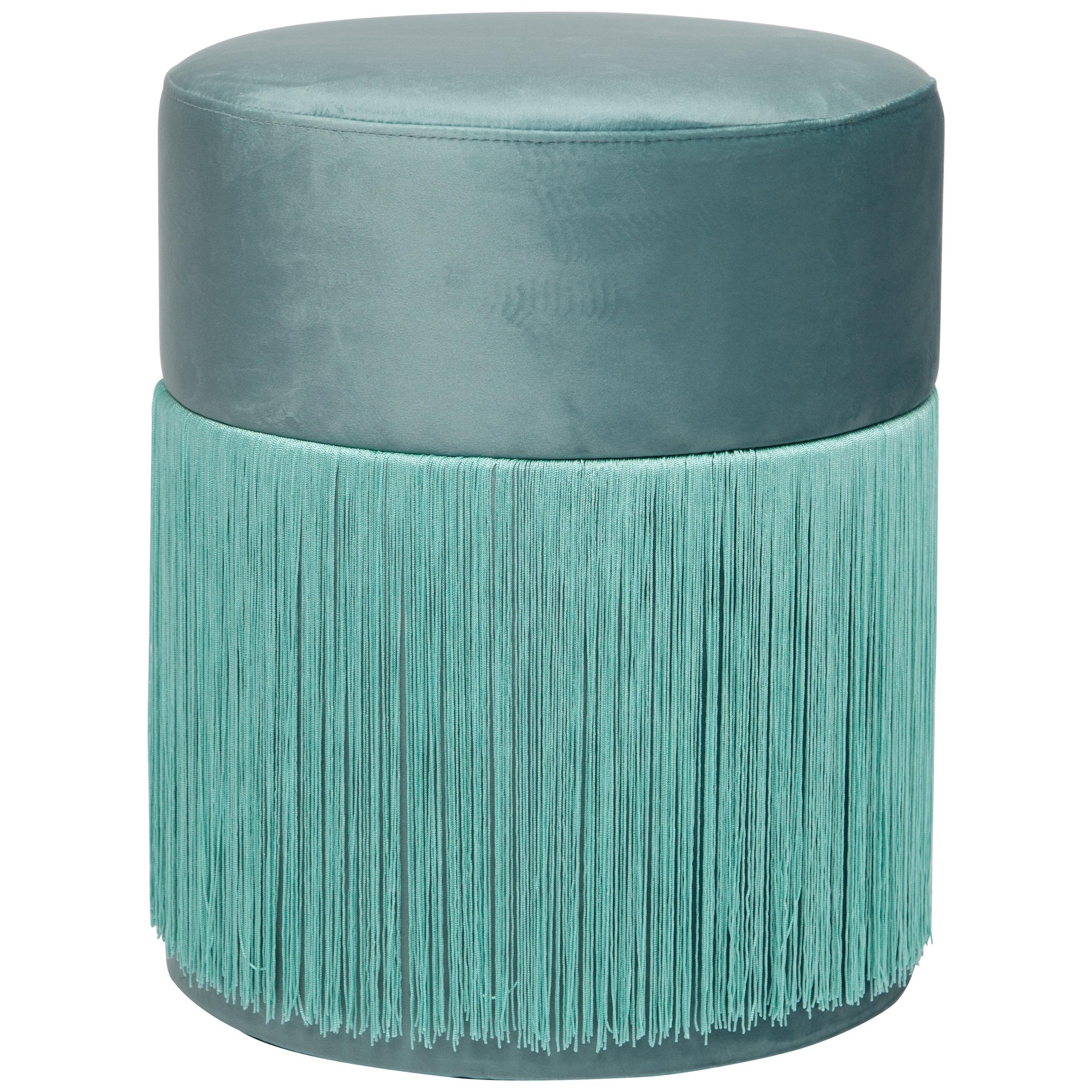 Pouf Pill Turquoise in Velvet Upholstery with Fringes