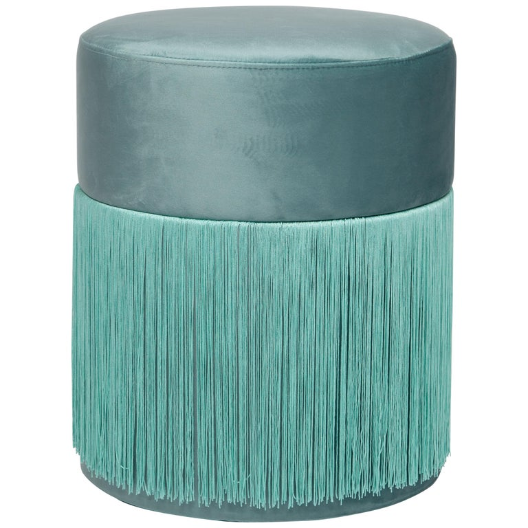 Pouf Pill Turquoise in Velvet Upholstery with Fringes For Sale