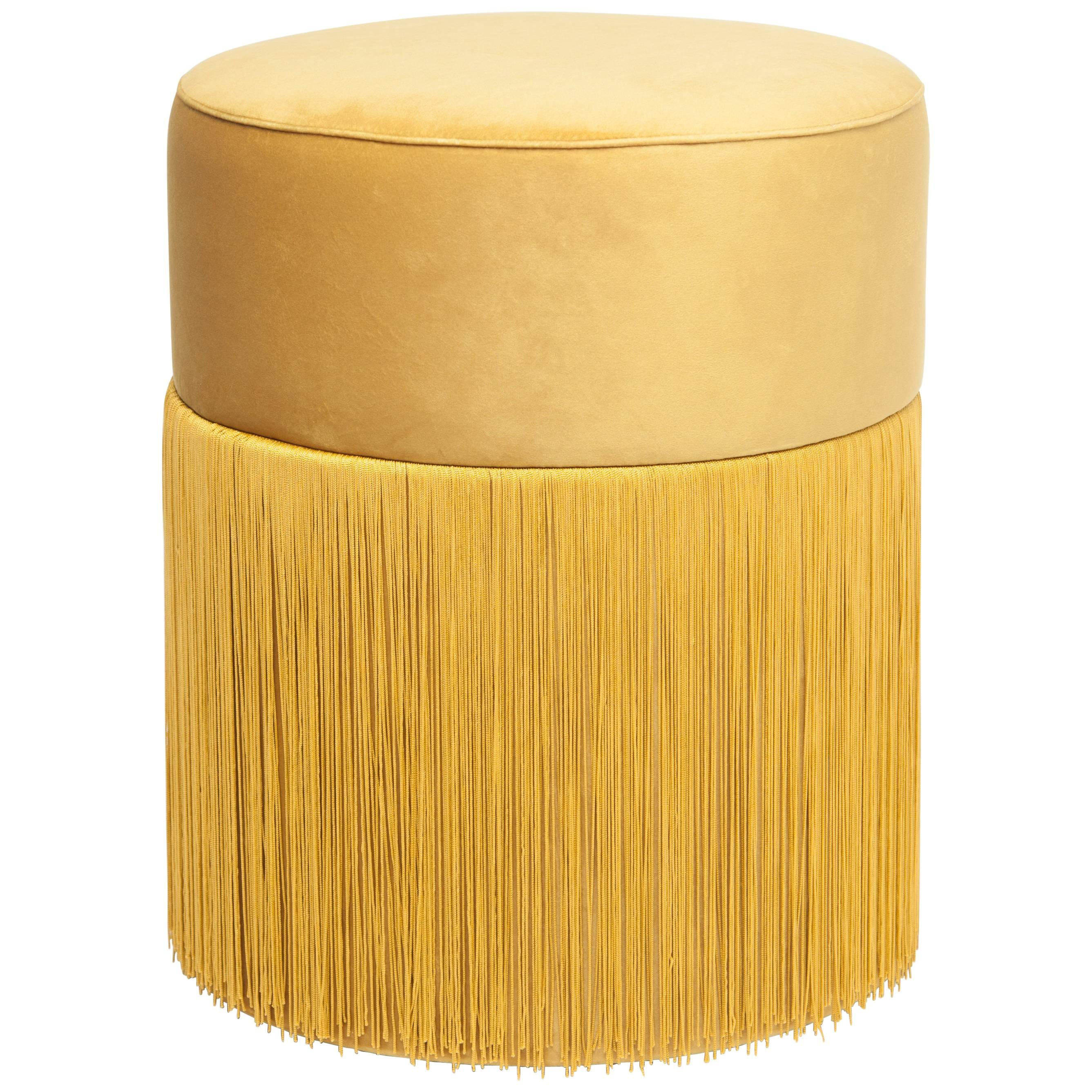 Pouf Pill Yellow in Velvet Upholstery with Fringes