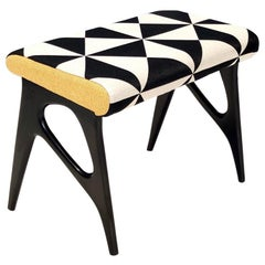 Pouf with Black, White and Yellow Fabric in the Style of Ico Parisi