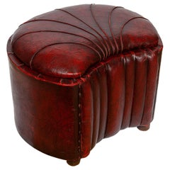 Pouffe Pouf Stool Boudoir Dressing Powder Art Deco Leatherette Burgundy Scallop