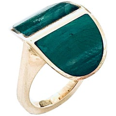 Poul Asby, 14 Karat Yellow Gold Ring, Set with Malachiet Stones, Denmark 1960