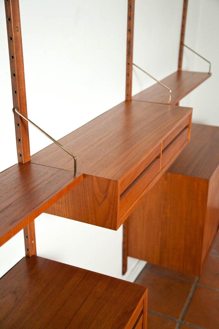 Scandinavian Modern Poul Cadovius, Cado Royal System 3 Bay Teak Modular Wall Unit, Denmark, 1960s For Sale
