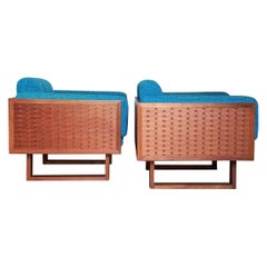 Poul Cadovius Lounge Chairs Basket Weave Pair, 1962