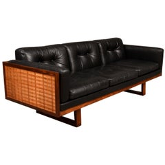 "Poul Cadovius, Model ""Guvernör"", Three-Seat Sofa with Rosewood Frame, Leather"