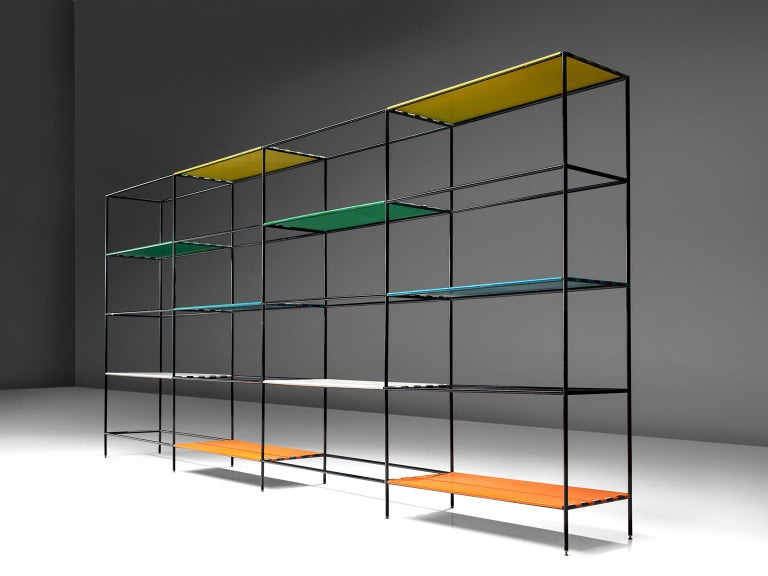 Poul Cadovius for Royal Sheve, shelving unit, steel and glass, 1960, Denmark.   This Minimalist shelving unit was designed by and produced by Royal System, Denmark, circa 1960. This modular system exists of black lacquered metal tubes with