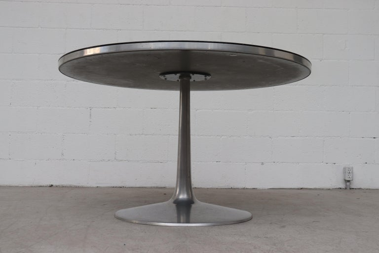Mid-Century Modern Poul Cadovius Round Ornate Black Top Table For Sale