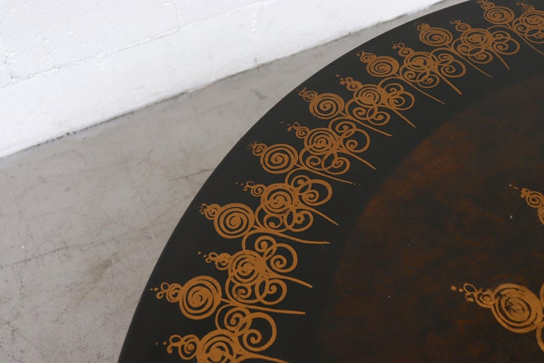 Danish Poul Cadovius Round Ornate Black Top Table For Sale