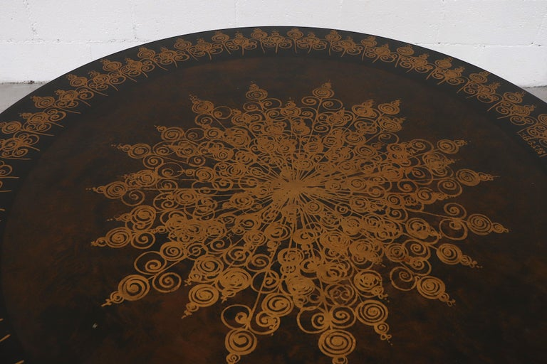 Late 20th Century Poul Cadovius Round Ornate Black Top Table For Sale