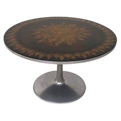 Poul Cadovius Round Ornate Black Top Table