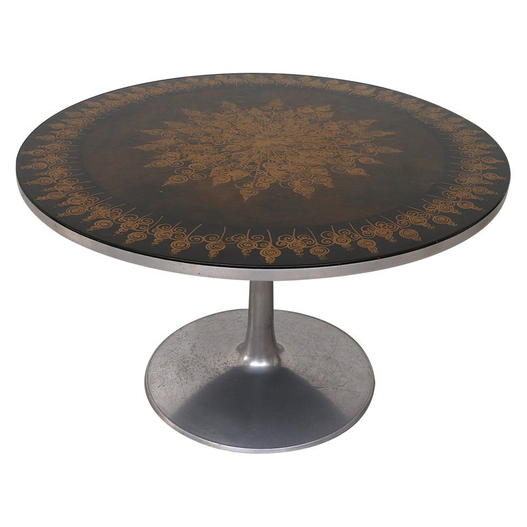 Poul Cadovius Round Ornate Black Top Table For Sale