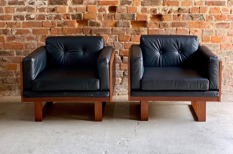 Poul Cadovius Woven Teak Black Leather Armchairs Pair by France & Son circa 1960 For Sale 5