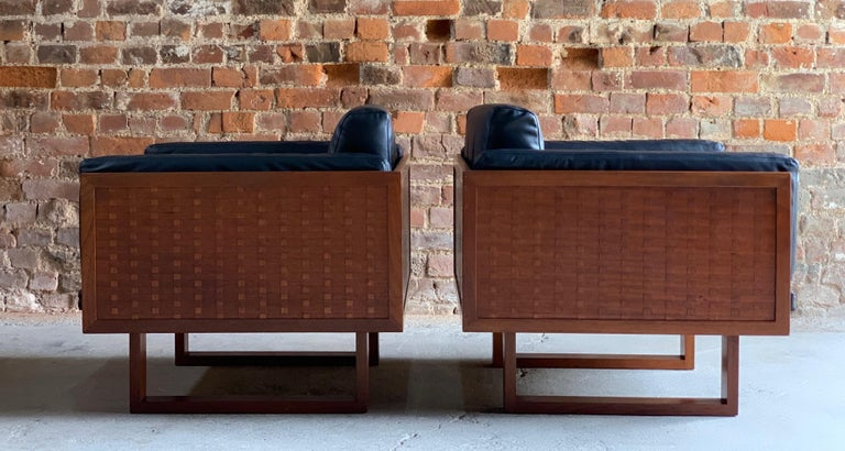 Danish Poul Cadovius Woven Teak Black Leather Armchairs Pair by France & Son circa 1960 For Sale
