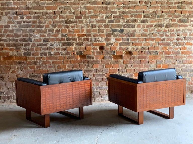 Mid-20th Century Poul Cadovius Woven Teak Black Leather Armchairs Pair by France & Son circa 1960 For Sale