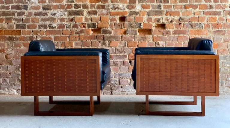 Poul Cadovius Woven Teak Black Leather Armchairs Pair by France & Son circa 1960 For Sale 1