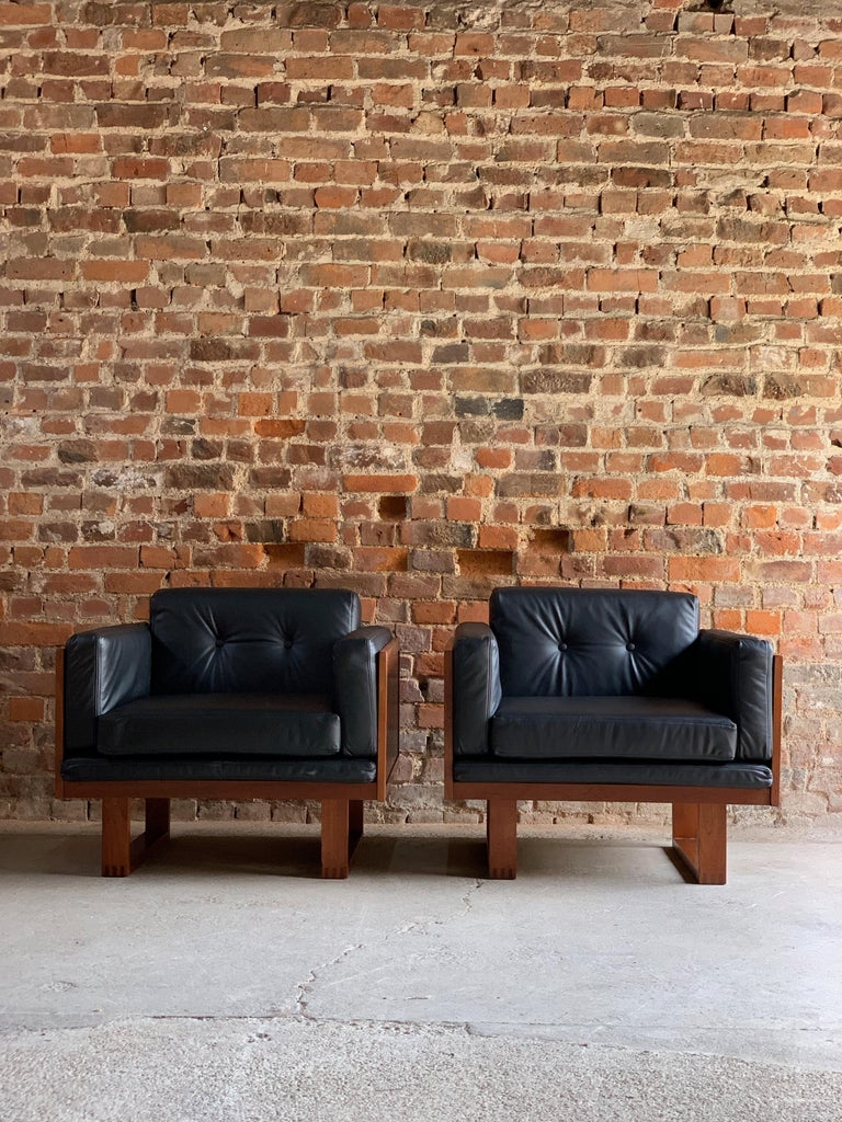 Poul Cadovius Woven Teak Black Leather Armchairs Pair by France & Son circa 1960 For Sale 3