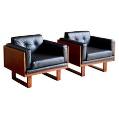 Poul Cadovius Woven Teak Black Leather Armchairs Pair by France & Son circa 1960