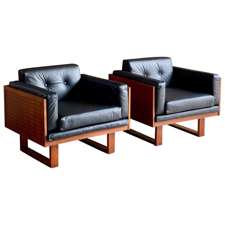 Poul Cadovius Woven Teak Black Leather Armchairs Pair by France & Son circa 1960 For Sale