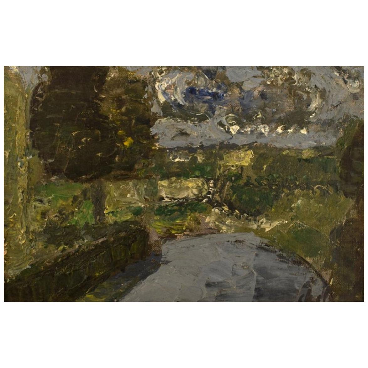 Poul Ekelund, Denmark, Oil on Board, Modernist Landscape, 1960s