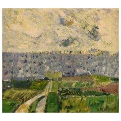 Poul Ekelund, Denmark, Oil on Canvas, Modernist Landscape, 1966