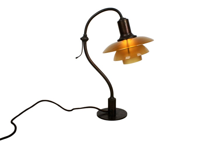 Poul Henningsen 2/2 'Question Mark' Desk Lamp with Amber Colored Glass, 1930s For Sale 3