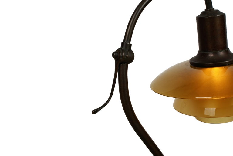 Poul Henningsen 2/2 'Question Mark' Desk Lamp with Amber Colored Glass, 1930s For Sale 4