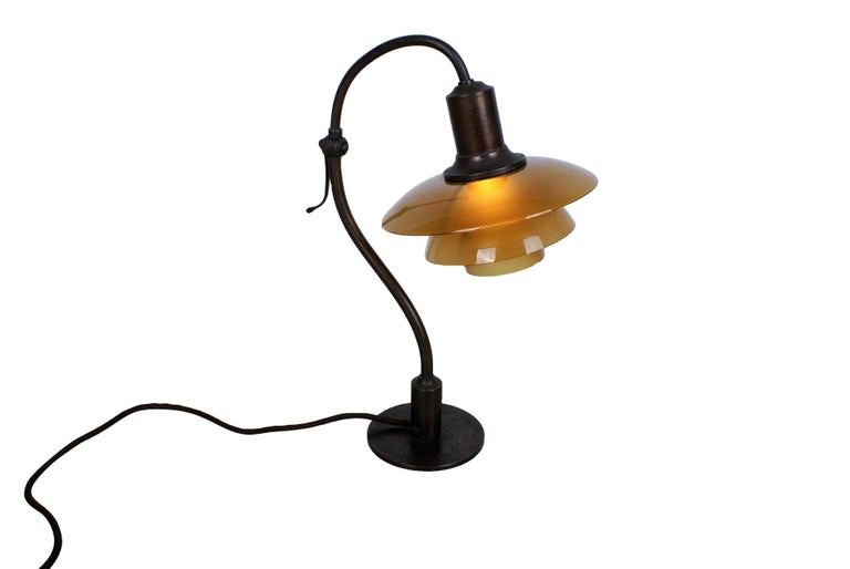 Poul Henningsen 2/2 'Question Mark' Desk Lamp with Amber Colored Glass, 1930s For Sale 5