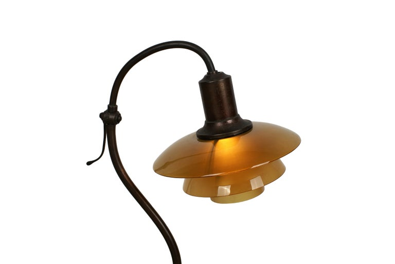 """Poul Henningsen, 'Question Mark' desk lamp, model 2/2 in brown brass with amber colored glass shades. This model manufactured 1931–1933 by Louis Poulsen, Denmark. Stamped 'PH2 PATENTED'.  Literature: """"Light Years Ahead"""", ill. p. 184."""