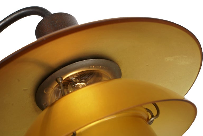 Danish Poul Henningsen 2/2 'Question Mark' Desk Lamp with Amber Colored Glass, 1930s For Sale