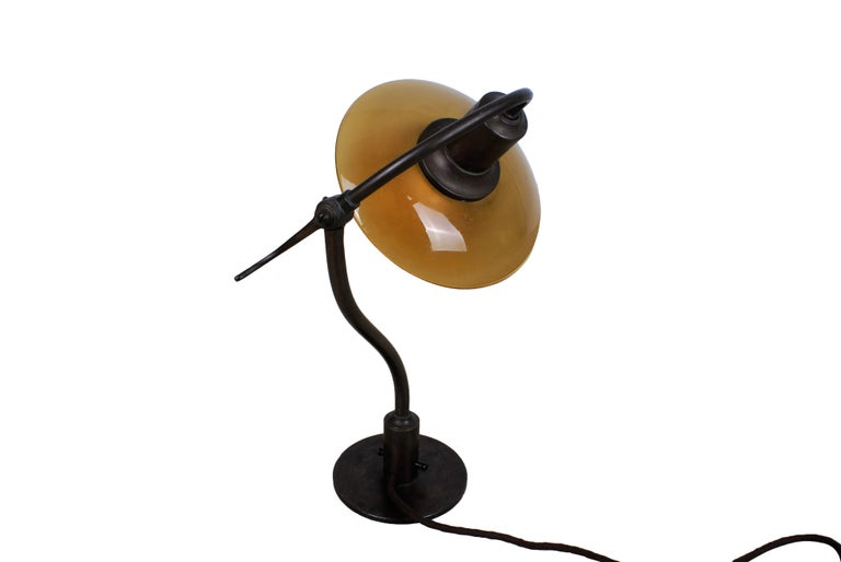 Poul Henningsen 2/2 'Question Mark' Desk Lamp with Amber Colored Glass, 1930s In Excellent Condition For Sale In Copenhagen, DK