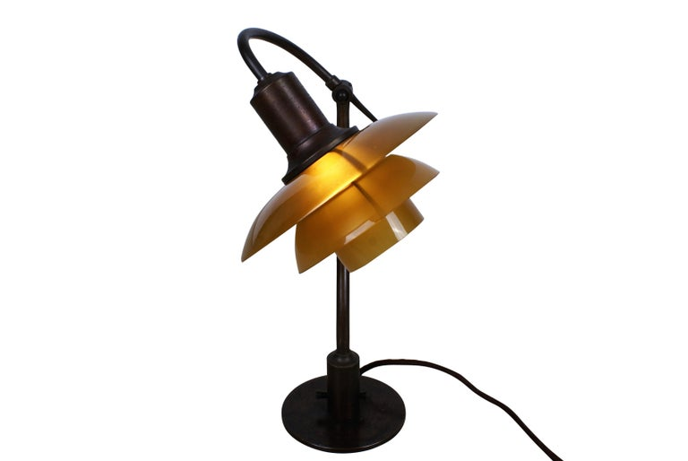 Brass Poul Henningsen 2/2 'Question Mark' Desk Lamp with Amber Colored Glass, 1930s For Sale