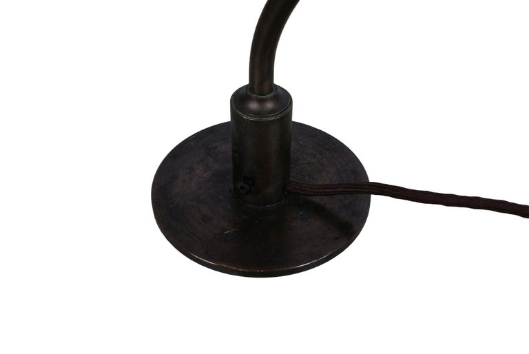 Poul Henningsen 2/2 'Question Mark' Desk Lamp with Amber Colored Glass, 1930s For Sale 1