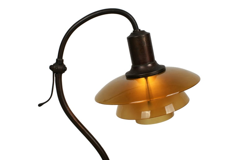Poul Henningsen 2/2 'Question Mark' Desk Lamp with Amber Colored Glass, 1930s For Sale 2