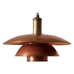 Poul Henningsen, 4/4 Pendant Light, Copper, Nickel-Plated Metal, Denmark, 1930s