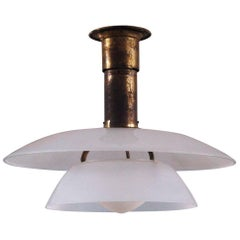 Poul Henningsen, 4/4 Rare Brass Pendant White Frosted Shades, Pat Appl, ca. 1926