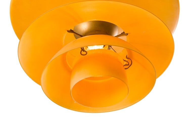 Poul Henningsen 4- Shade Amber Glass PH Pendant for Louis Poulsen, Denmark 1930s In Good Condition For Sale In New York, NY