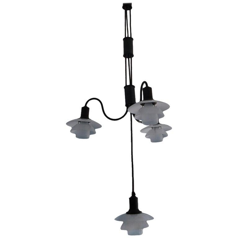 Poul Henningsen Adjustable-Height 4 Lamp Chandelier 2/2 White Shades For Sale