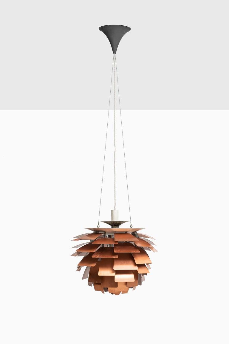Artichoke ceiling lamp designed by Poul Henningsen. Produced by Louis Poulsen in Denmark.
