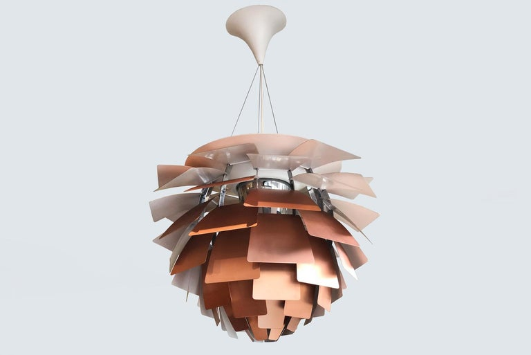Poul Henningsen for Louis Poulsen, artichoke lamp with 72 copper leaves, originally designed circa 1958 for the Langalinie Pavillion in Copenhagen.
